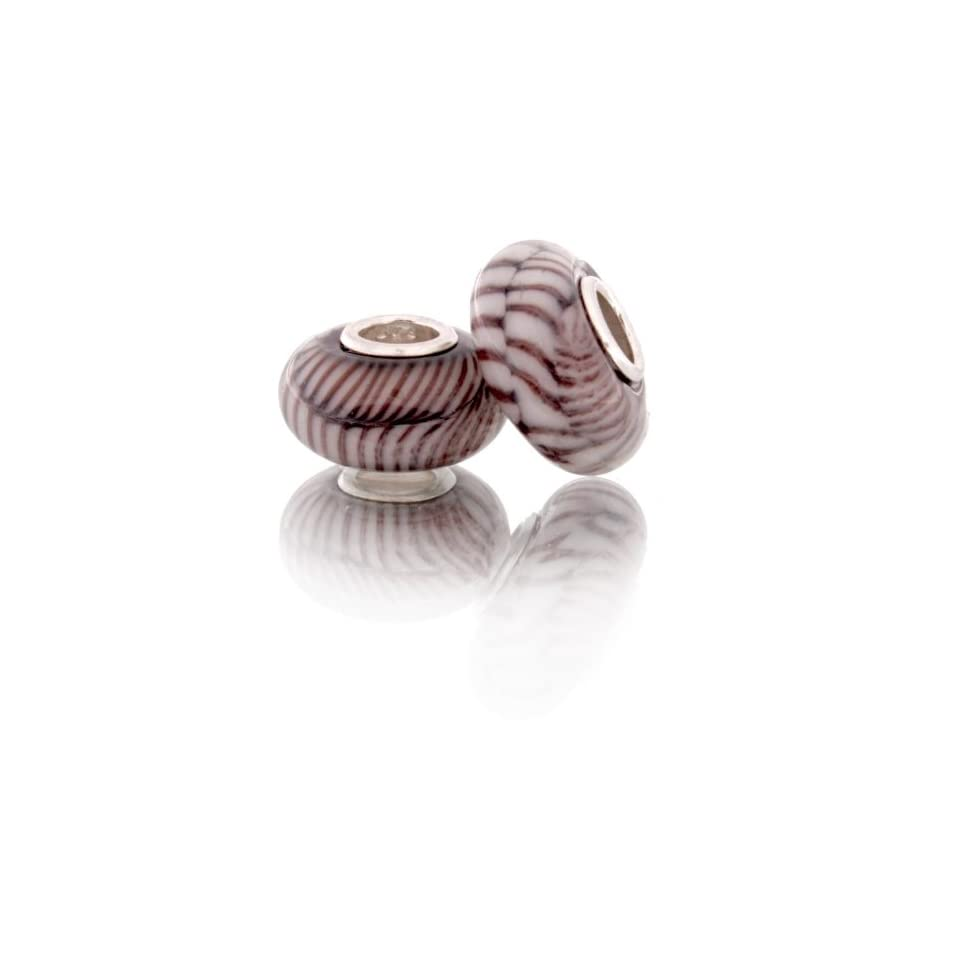 Kali Sterling Silver Glass Brown and White Fishbone Style Bead Compatable with Pandora Bracelet