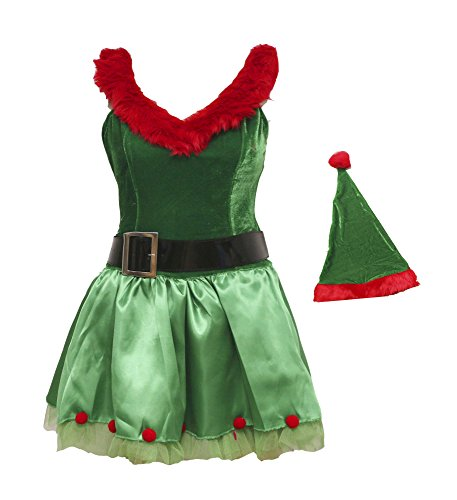 BSLINGERIE® Green Christmas Santa Girl Elf Full Set Costume