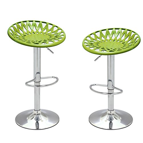 2015 NEW Product!! Adeco Adjustable Height Bar Counter Tractor-Like Seat Stools, Set of TWO, 360 degree rotation, Mexico-Inspired, Modern Home Accents, Lime Green