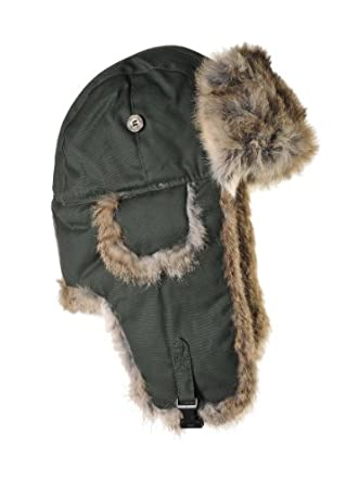 Mad Bomber Waxed Cotton Bomber Hat with Real Fur, Moss Green Waxed Cotton with Brown Fur, XX-Large