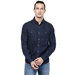 Atorse Mens Blue Denim Casual Shirt with Black Denim Cut and Sew side patch