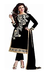ZHot Fashion Women's Embrodary Unstitched Salwar Suit Material In Chanderi Cotton Fabric (RHACP1002A) Black
