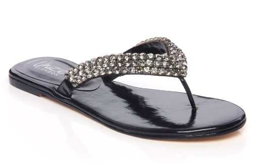 Cheap Unze Women Gems Adorned Strappy Thong Leather Summer Party, Evening, Wedding Slipper – Ab-3216 (B007V9XBW2)