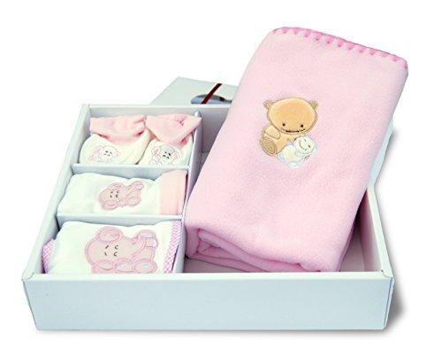 Cofanetto regalo di nascita nuovo nato bambino Plaid in pile berretto Bavaglino Pantofole baby-bow Rosa