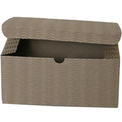 8x8x3.5 Kraft Corrugated Wave Open Lid Gift Boxes - Sold individually
