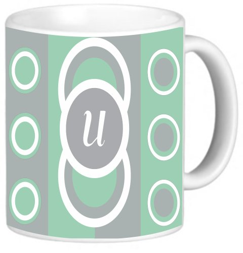 Rikki Knighttm Letter U Monogrammed Initial Mint Green - Circle Designs - Spring Fashion Colors 2014 - Design 11 Oz Photo Quality Ceramic Coffee Mug Cup - Fda Approved - Dishwasher And Microwave Safe