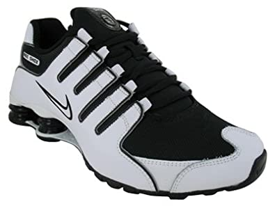 black and white nike shox