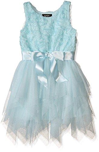 [Zunie Girls' Little Girls' Sequin Butterfly Soutache Mesh Fairy Dress with Ribbon, Ice Blue, 5] (Fairy Dress For Kids)
