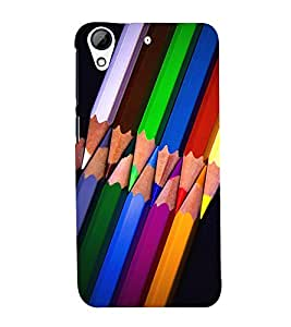 SERIES OF OVERLAPPING ROUGH SHARPENED COLOUR PENCILS 3D Hard Polycarbonate Designer Back Case Cover for HTC Desire 728::HTC Desire 728G