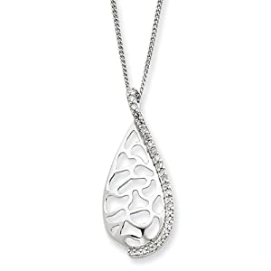 Genuine IceCarats Designer Jewelry Gift Sterling Silver Diamond Large Teardrop Necklace In Sterling Silver And 16.00 Inch