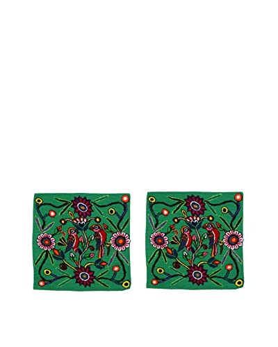 Uptown Down Set of 2 Found Charming Peruvian Embroidered Pillows, Green