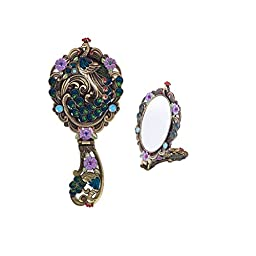 MOIOM Vintage Style Foldable Oval Peacock Pattern Makeup Hand/Table Mirror (Bronze)