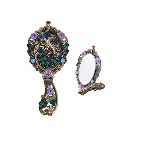 MOIOM Vintage Style Foldable Oval Peacock Pattern Makeup Hand/Table Mirror (Bronze) 0