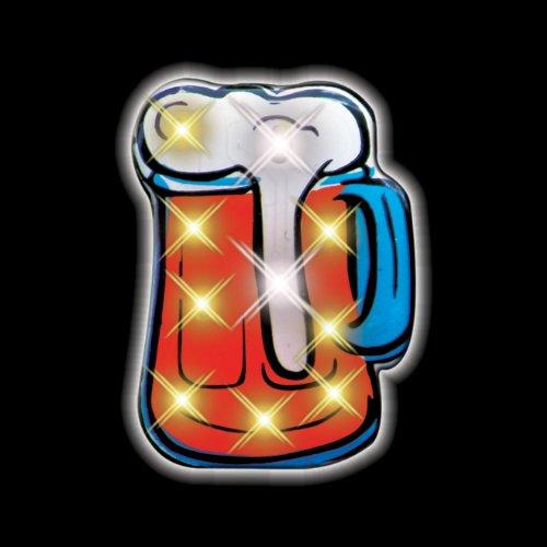 Beer Mug Flashing Blinking Light Up Body Lights Pins (25-Pack)