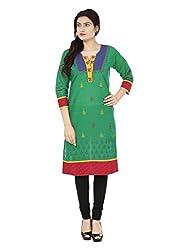 Adhaans Green Printed Women's Kurti