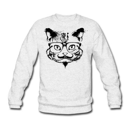 Spreadshirt, Hipster Cat, Men's Sweatshirt, salt & pepper, M