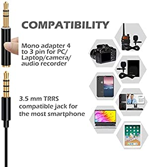 Lavalier Lapel Microphone, UBeesize Omnidirectional Condenser Mic for iPhone/Android Smartphones & Windows, Perfect for YouTube, Interview, Video Reco