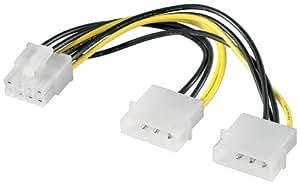 Wentronic Internes Stromkabel (2x 5,25mm Stecker auf PCI Express 8-polig) schwarz