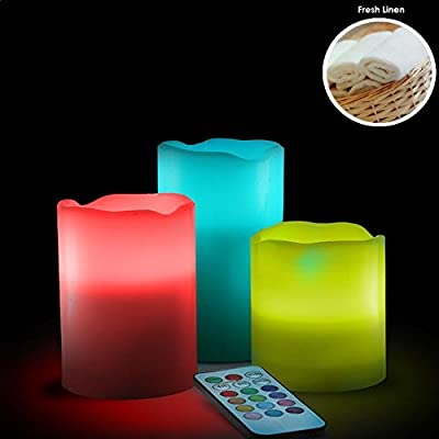 3 x FRESH LINEN REMOTE CONTROLLED LED WAX MOOD COLOUR CHANGING FLAMELESS SCENTED CANDLES by LED CANDLES
