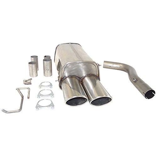 Supersport-Edelstahl-Endschalldmpfer-passend-fr-MERCEDES-BENZ-C-Klasse-II-Limo-Typen-W203-C180-C180-Kompressor-C200-Kompressor-Otto-90-95-105-120-141-145KW-Bj-0500-Heckantrieb-Endrohre-2x-90x120mm-geb