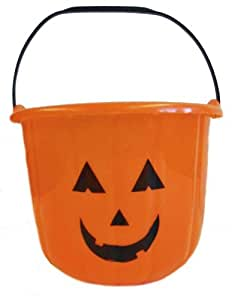 Large Heavy Duty Halloween Pumpkin Bucket - Orange Plastic Candy Pail