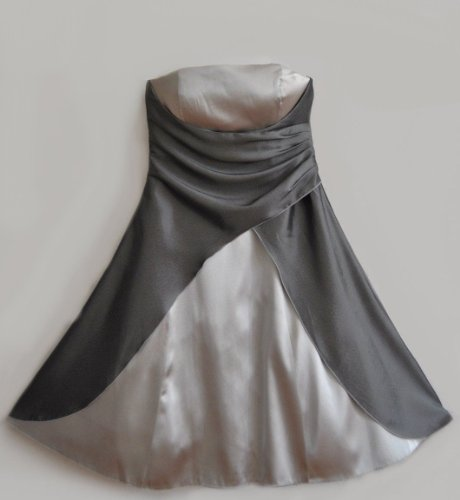 M2030,Satin Damen Abendkleid Ballkleid Cocktailkleid kurz silber