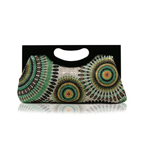 Scarleton Wood Framed Embroidered Clutch H300113 - Green
