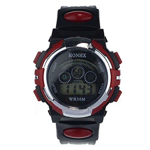 Suppion Waterproof Mens Boys Digital Led Quartz Alarm Date Sports Wrist Watch Red