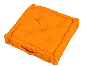 Homescapes plain orange 100 cotton floor cushion bright orange 40 x 40 x 10 cm square - Orange kitchen chair cushions ...