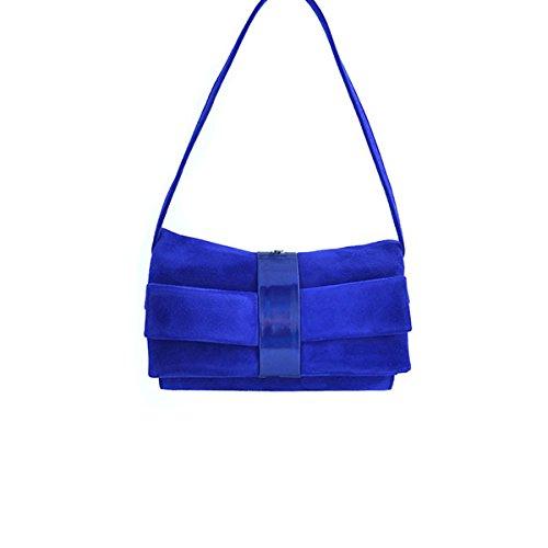 Borsa Pochette donna Tiffi in camoscio blu bluette T130BLU