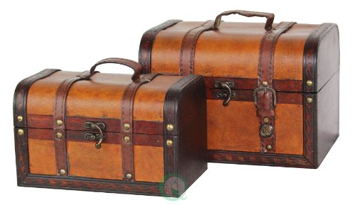 Vintiquewise(TM) Decorative Wood Leather Treasure Box (Set of 2) (Treasure Chest Basket compare prices)