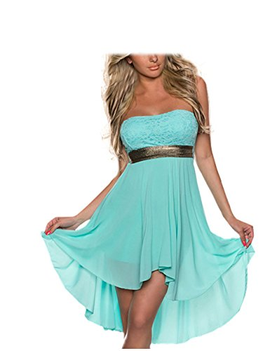FASHION LOVER Women's Strapless High Low Cocktail Prom Dress Size XL Blue