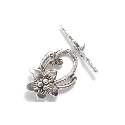 Shipwreck Beads Zinc Alloy Toggle Clasp Flower With Scrolls, 20 By 30Mm, Silver, 18-Pack front-75536