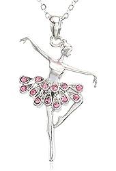 Light Pink Dancing Ballerina Dancer Ballet Dance Pendant Necklace Charm