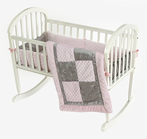 Baby Doll Croco Minky Cradle Bedding Set, Pink/Grey