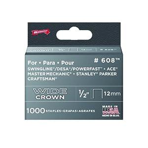 Arrow 608 Wide Crown Swingline Heavy Duty 1/2-Inch Staples, 1,000-Pack