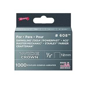 """Arrow 608 Wide Crown Swingline Heavy Duty 1/2"""" Staples (Pack of 1000)"""