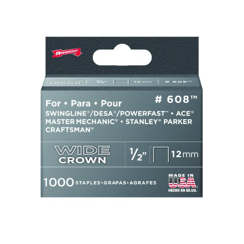 Arrow 608 Wide Crown Swingline Heavy Duty 1/2-Inch Staples, 1,000-Pack