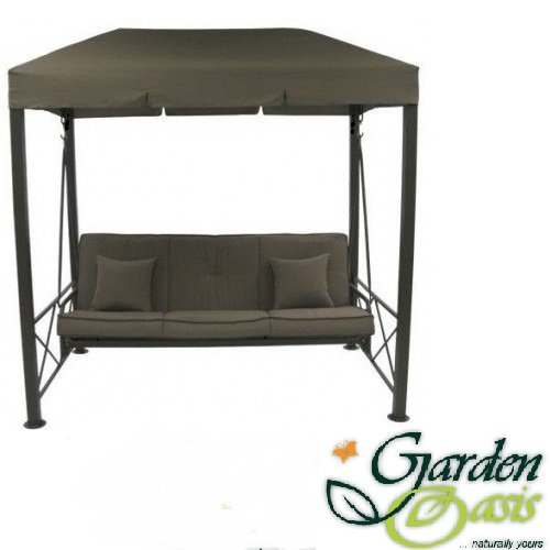Outdoor Canopy Swing Traditional 3 Person Chair With Brown Padded Seat Cushions. Patio Furniture Guaranteed to last, Weather Resistant Gazebo Sun Shade Top and Durable Reinforced Steel Frame. Backyard Accent Glider Bench By Garden Oasis. photo