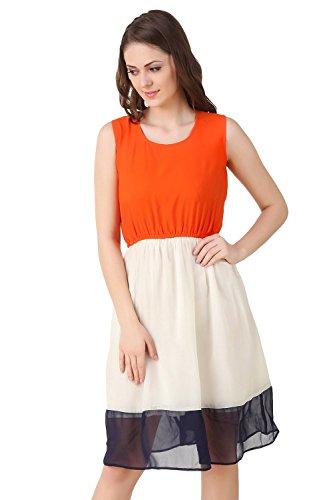ShreeBalaji New Attective Orange-White-Black Westrn wear Style Dresses(Mfgn_10256987_Cream Colour_Freesize Western Wear New Collection Of Lehngha)