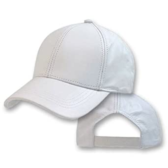 white deluxe genuine leather baseball cap hat made in the