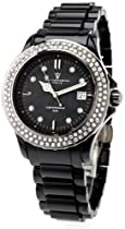 Ceramic Ladies Crystal Bling Black Pearl Watch Sottomarino SM70008-A