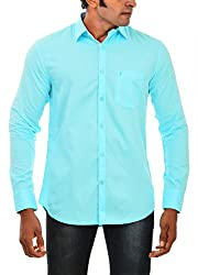 Indipulse Men's Casual Shirt (IF11600615A, Blue, L)