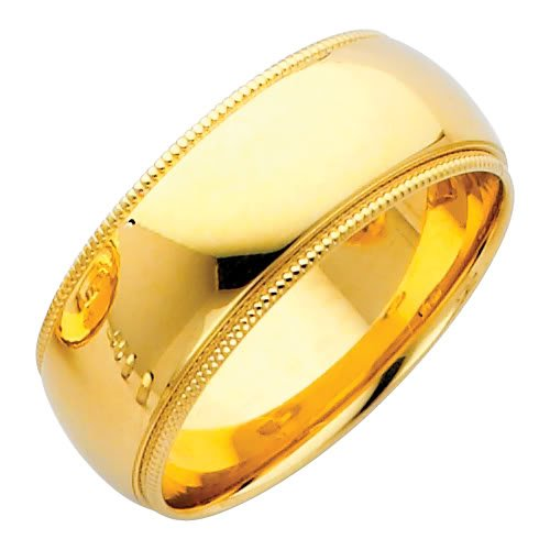 14K Yellow Gold 8mm COMFORT FIT Plain Milgrain