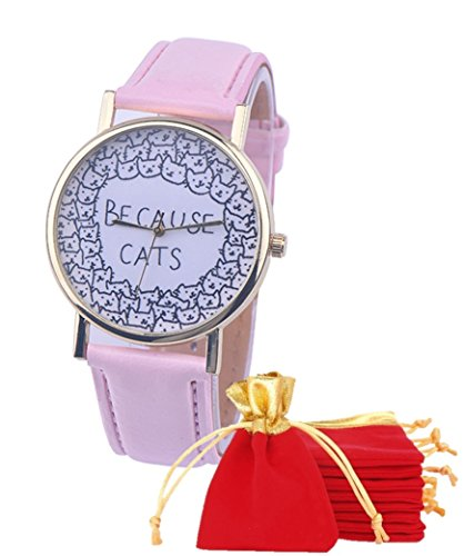 eBijoux 1780 - [BECAUSE CATS ROSA] Orologio Donna da Polso - Con cinturino regolabile a 6 fori - Quarzo - In Sacchetto vellutato Rosso e Oro - Regalo perfetto