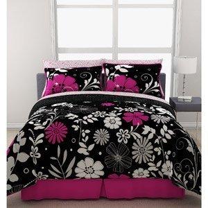Amazon com pink black white girls flowered twin comforter sheet bed