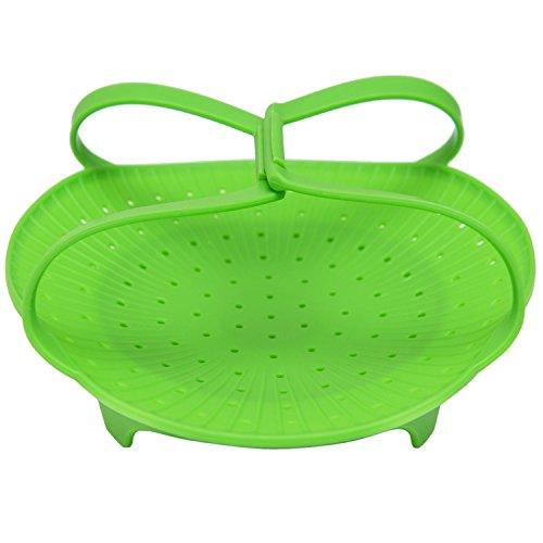 VivaChef Vegetable Steamer - Food Grade Silicone Steamer Basket Insert, Green (Non Stick, Dishwasher Safe) (Nonstick Steamer Basket compare prices)