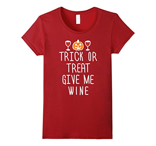 Women's Trick Or Treat Give Me Wine Tee Shirt XL Cranberry
