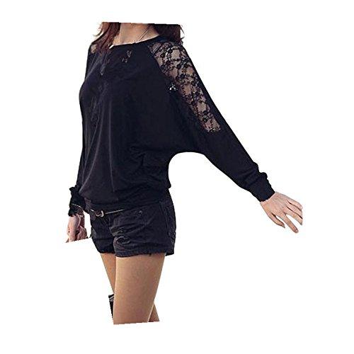Fortan 1PC donne manica lunga casuale Dolman Lace slaccia la maglietta Batwing Top (medium, Nero)