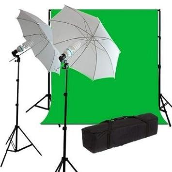BPS Kit Déclairage Parapluie Studio Photo 2.8M Support de Fond 125W Tissu Fond Vert 6*3M Coton